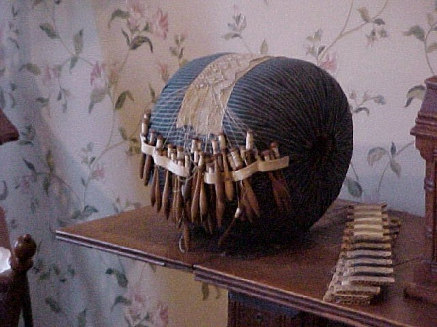 Bobbin Lace Pillow Stand Old Bobbin Lace Pillow And